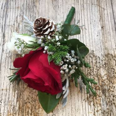 Red Rose Male Wedding Buttonhole